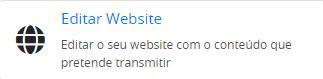 botão para aceder a área de editar o seu site